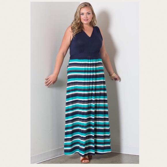 SWAK Emerson Empire Waist Plus Size Maxi Dress 5X NWT